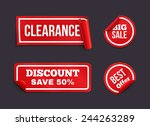 red stickers with curled edge.... | Shutterstock . vector #244263289