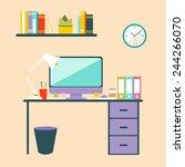 flat design vector illustration ... | Shutterstock .eps vector #244266070