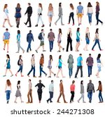 "Small photo of collection "" back view of walking people "". going people in motion set. backside view of person. Rear view people collection. Isolated over white background."