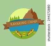 Kayaking Camp Logo. Expedition...