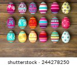 Easter Eggs On Wooden Table...