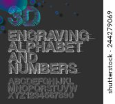 engraving alphabet and numbers  ... | Shutterstock .eps vector #244279069