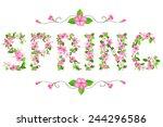 vector apple blossom lettering. ...   Shutterstock .eps vector #244296586
