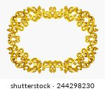 golden oval frame with baroque... | Shutterstock . vector #244298230