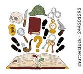 detective book set | Shutterstock .eps vector #244301293
