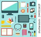 big set of  graphic designer... | Shutterstock .eps vector #244311619