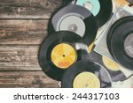 close up image of old records... | Shutterstock . vector #244317103