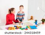 preschooler child playing in ... | Shutterstock . vector #244318459