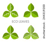 set of green leaves. vector... | Shutterstock .eps vector #244319200