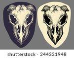 Alien Head Skull In Dark And...