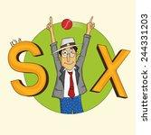 cute cartoon of a cricket... | Shutterstock .eps vector #244331203