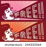 retro vintage girl screaming... | Shutterstock .eps vector #244333564