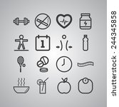 set of simple icons for health... | Shutterstock .eps vector #244345858