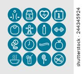 set of simple icons for health... | Shutterstock .eps vector #244345924