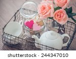 Tray With Roses  White Teapot ...