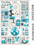 traveling infographic  outline... | Shutterstock .eps vector #244351048