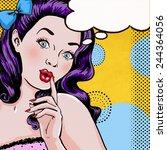 pop art illustration of woman... | Shutterstock . vector #244364056