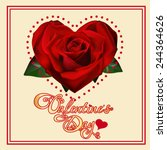 valentine's day card with roses | Shutterstock . vector #244364626