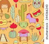 vector cartoon funny mexican... | Shutterstock .eps vector #244366240