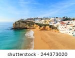 a view of carvoeiro city in... | Shutterstock . vector #244373020