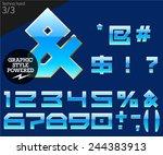 blue alphabet with golden... | Shutterstock .eps vector #244383913