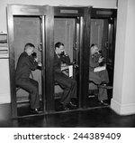 reporters in telephone booths... | Shutterstock . vector #244389409