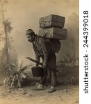 turkish porter carrying luggage ... | Shutterstock . vector #244399018