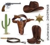 vector cowboy icons | Shutterstock .eps vector #244399648
