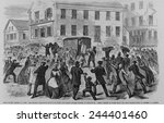 the rioting strikers attacking... | Shutterstock . vector #244401460