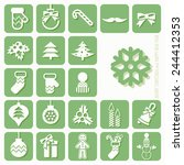 christmas icons set | Shutterstock . vector #244412353