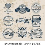 happy valentines day labels ... | Shutterstock .eps vector #244414786