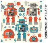 Seamless Robot Face Pattern...