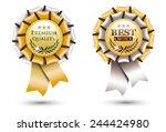 two golden ribbon rosettes ... | Shutterstock .eps vector #244424980