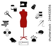 sewing  tailoring icons for diy ... | Shutterstock .eps vector #244433056