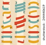 big vector set of ribbons in... | Shutterstock .eps vector #244440619