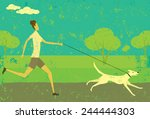 Stock vector running with your dog a woman running with her dog over an abstract park background the woman 244444303