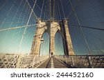 walkway on the brooklyn bridge... | Shutterstock . vector #244452160