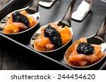 salmon and caviar on elegant... | Shutterstock . vector #244454620