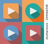set of play button icons with a ... | Shutterstock .eps vector #244466548