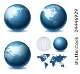 vector globe and map of the... | Shutterstock .eps vector #24446929