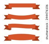 orange ribbons set | Shutterstock .eps vector #244476106