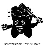 black silhouette   tooth mascot  | Shutterstock .eps vector #244484596