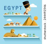 egypt and pyramid  sphinx ... | Shutterstock .eps vector #244492546