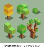 trees set. 3d pixelate... | Shutterstock .eps vector #244499410