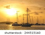Moored Sailboats In A St....