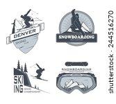vector snowboarding skiing... | Shutterstock .eps vector #244516270