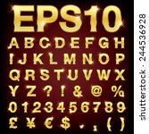 vector set of metallic letters... | Shutterstock .eps vector #244536928