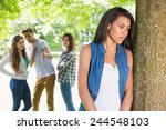 lonely student being bullied by ... | Shutterstock . vector #244548103