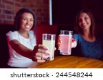 happy friends toasting to... | Shutterstock . vector #244548244