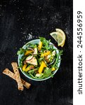 fresh green spring salad with... | Shutterstock . vector #244556959